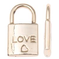 Sinkkiseos Lock riipukset, Lukko, sana rakkaus, real kullattu, korkealaatuinen pinnoitus ja koskaan haalistu, lyijy ja sen kadmium vapaa, 11x20x3mm, Reikä:N. 6x6mm, 50PC/laukku, Myymät laukku