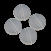 Jelly Style Acrylic Beads, Flat Round, white, 9x4mm, Hole:Approx 1mm, 2Bags/Lot, Approx 1660PCs/Bag, Sold By Lot