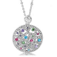 Cubic Zirconia Pendant, Zinc Alloy, Flat Round, platinum plated, with cubic zirconia & hollow, nickel, lead & cadmium free, 22x31mm, Hole:Approx 2-3mm, 10PCs/Lot, Sold By Lot