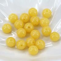 Koraliki z żywicy imitujące bursztyn, żywica, Koło, imitacja bursztynu & różnej wielkości do wyboru & solidny kolor, żółty, otwór:około 1mm, sprzedane przez torba