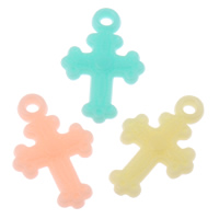Acrylic Pendants, fleur-de-lis cross, candy style & solid color, mixed colors, 13x21x3mm, Hole:Approx 1mm, 2Bags/Lot, Approx 2500PCs/Bag, Sold By Lot