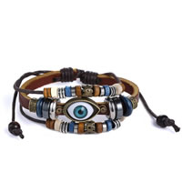 Evil Eye Jewelry Bracelet, Cowhide, with Waxed Cotton Cord & Zinc Alloy, plated, adjustable & 3-strand, 28x14mm, Hole:Approx 4x7mm, Length:Approx 7-14 Inch