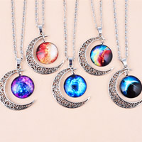 Time Gem Jewelry Necklace, Zinc Alloy, with Glass, with 2Inch extender chain, Moon, platinum color plated, different designs for choice & blacken & decal, nickel, lead & cadmium free, 40x30mm, Length:Approx 17.7 Inch, 10Strands/Lot, Sold By Lot