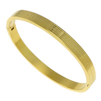 Stainless Steel Bangle, gold color plated, 6x2.50mm, Inner Diameter:Approx 58x50.5mm, Length:Approx 6.5 Inch, Sold By PC