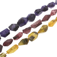 Crackle Quartz Beads, Nuggets, natural, more colors for choice, 10x20mm-28x45mm, Hole:Approx 1mm, Length:Approx 15-15.7 Inch, 5Strands/Bag, Approx 11PCs/Strand, Sold By Bag