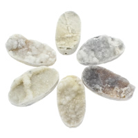 Druzy Beads, Ice Quartz Agate, Flat Oval, natural, druzy style & half-drilled, white, 26x50x10mm-27x51x15mm, Hole:Approx 2mm, 20PCs/Bag, Sold By Bag