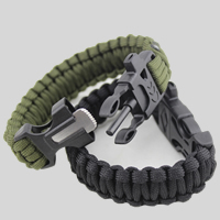 Survival Bracelets, Nylon Cord, with Plastic, with fire starter & with whistle, more colors for choice, 20mm, Length:Approx 9.8 Inch