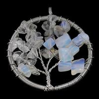 Опаловые кулоны, Морской опал, с Латунь, Древо жизни, Платиновое покрытие платиновым цвет, не содержит никель, свинец, 47x53x8mm, отверстие:Приблизительно 5mm, 10ПК/Лот, продается Лот