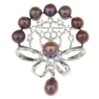 Freshwater Pearl Brooch, with Zinc Alloy, Flower, natural, dark purple, 38.50x42.50x11mm, Sold By PC