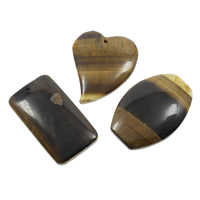 Natural Tiger Eye Pendants, 36x61x7mm-42x7mm, Hole:Approx 2mm, 5PCs/Bag, Sold By Bag