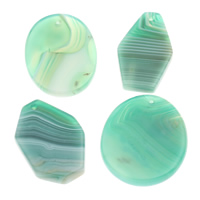 Lace Agate Pendants, natural, green, 20x35x5mm-35x45x8mm, Hole:Approx 1mm, 10PCs/Bag, Sold By Bag