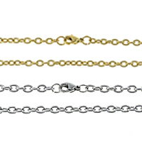 Rustfrit Stål Nekclace Chain, Stainless Steel, forgyldt, oval kæde, flere farver til valg, 2.50x2x0.50mm, Solgt Per Ca. 20 inch Strand
