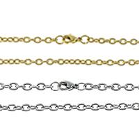 Acciaio inossidabile Nekclace catena, acciaio inox, placcato, catena ovale, nessuno, 2.50x2x0.50mm, Venduto per Appross. 20 pollice filo