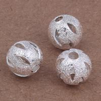 Messing kralen, Ronde, silver plated, hol, nikkel, lood en cadmium vrij, 8mm, Gat:Ca 2mm, 20pC's/Bag, Verkocht door Bag