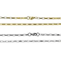 Stal nierdzewna Nekclace Chain, Powlekane, prostokąt łańcucha, dostępnych więcej kolorów, 3x1x1.50mm, długość:około 17 cal, sprzedane przez wiele