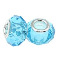 European kristalli helmiä, Rondelli, hopeaa Kaksoisjohdin ilman peikko, Akvamariini, 14x8mm, Reikä:N. 5mm, 20PC/laukku, Myymät laukku