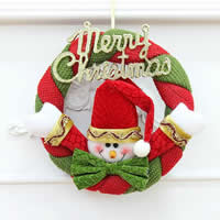 Velveteen Christmas Wreath, word Merry Christmas, Christmas jewelry, 200mm, Sold By PC