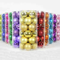 Plastic Christmas Balls, Round, Christmas jewelry, more colors for choice, 60mm, 24PCs/Bag, Sold By Bag