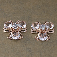 Cubic Zirconia Cabochons, Brass, with Cubic Zirconia, Flower, rose gold color plated, with rhinestone, nickel, lead & cadmium free, 23x23x8.50mm, 100PCs/Lot, Sold By Lot