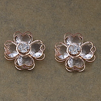 Cubic Zirconia Cabochons, Brass, with Cubic Zirconia, Flower, rose gold color plated, with rhinestone, nickel, lead & cadmium free, 21x21x9mm, 100PCs/Lot, Sold By Lot