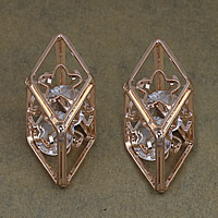 Cubic Zirconia Cabochons, Brass, with Cubic Zirconia, Rhombus, rose gold color plated, nickel, lead & cadmium free, 16x35x14mm, 100PCs/Lot, Sold By Lot