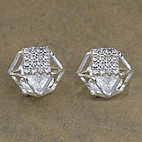 Cubic Zirconia Cabochons, Brass, with Cubic Zirconia, platinum color plated, with rhinestone, nickel, lead & cadmium free, 20.50x17x18mm, 100PCs/Lot, Sold By Lot
