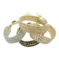 Завернутый браслет, Кристаллы, с Вощеная хлопок шнур, латунь замочек, Платиновое покрытие платиновым цвет, регулируемый & граненый, много цветов для вабора, не содержит никель, свинец, 4mm, 18x4mm, длина:8-9 дюймовый, 10пряди/Лот, продается Лот