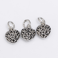 Brass Heart Pendants, antique silver color plated, hollow, lead & cadmium free, 10x12x6.20mm, Hole:Approx 2-3mm, 3PCs/Bag, Sold By Bag