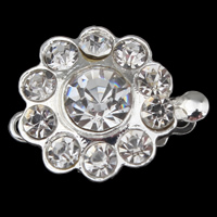 Zinc Alloy Box Clasp, Flower, silver color plated, with rhinestone & single-strand, nickel, lead & cadmium free, 18x14x8mm, Hole:Approx 1mm, 10PCs/Bag, Sold By Bag