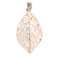 Hollow Brass Pendants, with Crystal, Leaf, gold color plated, nickel, lead & cadmium free, 19x36x18mm, Hole:Approx 3x5mm, Sold By PC