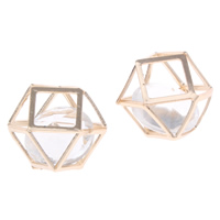 Brass Jewelry Pendants, with Crystal, Polygon, gold color plated, faceted, nickel, lead & cadmium free, 20x15x19mm, Hole:Approx 4-8mm, Sold By PC