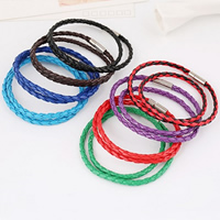 PU Cord Bracelets, zinc alloy magnetic clasp, platinum color plated, 2-strand, more colors for choice, nickel, lead & cadmium free, 4mm, Length:Approx 18.5 Inch, 50Strands/Lot, Sold By Lot
