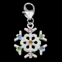 Zinc Alloy Lobster Clasp Charm, Snowflake, Christmas jewelry & enamel & with rhinestone, nickel, lead & cadmium free, 19x35x3mm, Hole:Approx 5x4mm, Sold By PC