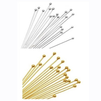 Brass Headpin, plated, more colors for choice, nickel, lead & cadmium free, 0.6mm,1.5mm,22mm, 20000PCs/Bag, Sold By Bag