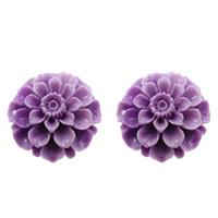 Karbowany olbrzymi Wisior, Rzeźbiony gigant, Kwiat, warstwowe, fioletowy, 32x33x18mm, otwór:około 1mm, sprzedane przez PC