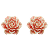 Fluted Giant Connector, Flower, 1/1 loop & layered, shell pink, 49x50x18mm, Hole:Approx 1mm, Sold By PC