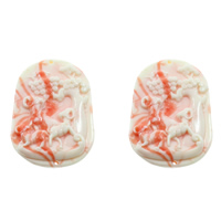 Fluted Giant Connector, Flat Oval, 1/1 loop, shell pink, 36x50x9mm, Hole:Approx 1mm, Sold By PC