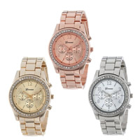 Women Wrist Watch, Zinc Alloy, with Glass, plated, with rhinestone, more colors for choice, nickel, lead & cadmium free, 38mm, 15mm, Length:Approx 8.6 Inch, 10PCs/Lot, Sold By Lot
