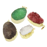 Ice Quartz Agate Findings with Brass natural druzy style   mixed 23x33x14mm-27x44x22mm Hole:Approx 5x7mm 5PCs/Bag