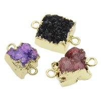 Druzy Connector Ice Quartz Agate with Brass natural druzy style   mixed   1/1 loop 17x9.5mm-20x12x9mm Hole:Approx 2mm 5PCs/Bag