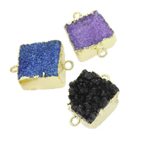 Druzy Connector, Ice Quartz Agate, with Brass, natural, druzy style & mixed & 1/1 loop, 21x16x9mm-25x17x13mm, Hole:Approx 2mm, 5PCs/Bag, Sold By Bag