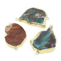 Impression Jasper Connector, with Brass, natural, mixed & 1/1 loop, 37x25x5mm-44x37x6mm, Hole:Approx 2mm, 5PCs/Bag, Sold By Bag