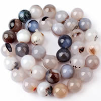 Natural Grey Agate Beads, Round, different size for choice, Hole:Approx 1-1.2mm, Sold Per Approx 15 Inch Strand