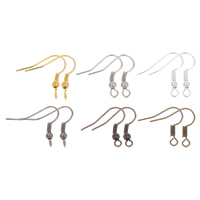 Iron Hook Earwire, plated, with loop, more colors for choice, nickel, lead & cadmium free, 20x17x1mm, Hole:Approx 1mm, 100PCs/Bag, Sold By Bag