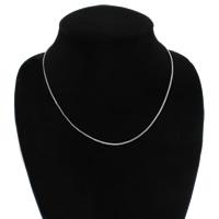 Messing halsketting ketens, platinum plated, box ketting, nikkel, lood en cadmium vrij, 1mm, Per verkocht Ca 17 inch Strand