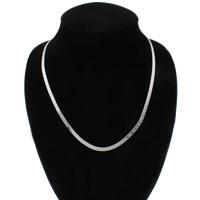 Messing halsketting ketens, Word ik hou van je, platinum plated, visgraat keten, nikkel, lood en cadmium vrij, 4x1mm, Per verkocht Ca 19 inch Strand
