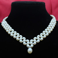 Natural Freshwater Pearl Necklace brass lobster clasp with 5cm extender chain Rice white 6-7mm 8-9mm Sold Per Approx 17.5 Inch Strand
