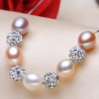 Srebrny naszyjnik z perłami, Perła naturalna słodkowodna, ze Srebro łańcucha & Koralik utwierdzony kryształ górski, Ryż, Naturalne, z 42 sztuk kryształu górskiego & pole łańcucha, wielokolorowy, 7-8mm, sprzedawane na około 17 cal Strand