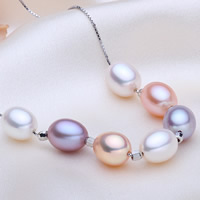 Freshwater Pearl Brass Necklace, with Brass, Rice, natural, box chain, multi-colored, 7-8mm, Sold Per Approx 17 Inch Strand
