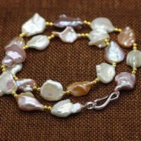 Srebrny naszyjnik z perłami, Perła naturalna słodkowodna, ze Mosiądz, Keishi, Powlekane, naturalny, wielokolorowy, 12-15mm, sprzedawane na około 17.5 cal Strand